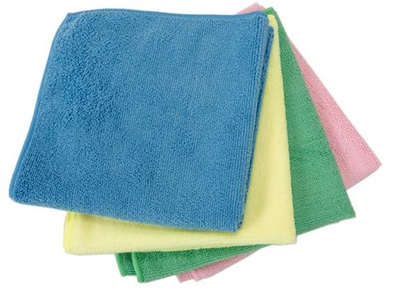 Traditional Woven Microfibre, colour coded in 4 colours - blue, red, green and yellow